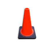 Verkeerspion 500mm oranje met verzwaarde voet van gerecycled kunststof