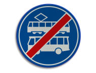 Verkeersbord RVV F18 - Einde rijbaan of -strook bus en tram