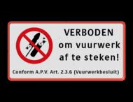Verkeersbord - Verboden om vuurwerk af te steken - vrij invoerbare ondertekst - reflecterend