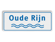 Rivieren naambord wit-blauw
