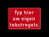 Tekstbord rood/wit 3 regelig