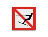 Scheepvaartbord BPR A.14 - Verboden te waterskiën