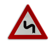 Verkeersbord België A1c - Dubbele bocht links