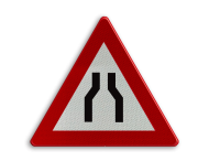 Verkeersbord België A7a - Rijbaanversmalling