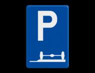 Verkeersbord België E9e - Verplicht parkeren op de berm of op het trottoir