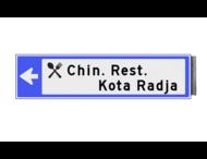 Bewegwijzeringsbord - ENKELZIJDIG LINKS - 800x200x15mm blauw/wit 2 regelig en pijl