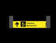 Verwijsbord VOETGANGERS RAL7016 1000x200 + reflex | geel/zwart | Montagestukken 80x80x400mm