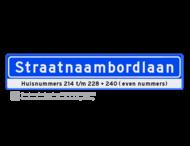 Straatnaambord 18 karakters 1000x200 mm + Huisnummers NEN 1772