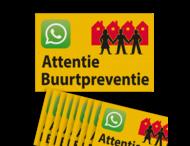 Verkeersbord sticker L209b Attentie Buurtpreventie - WhatsApp - geel (Set 10 stuks)