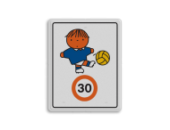 Dick Bruna - Attentiebord Snelheid - jongen met voetbal