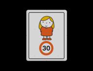 Dick Bruna - Attentiebord Snelheid - meisje met blond haar