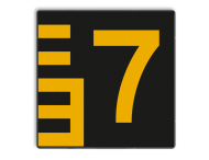 Scheepvaartbord BPR G. 5.1 - 1000x1000mm - Hoogteschaal - zwart/geel rechts