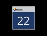 Nummerbord 450x450x28mm - emmtec reflecterend + nummer