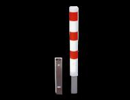 Anti parkeerpaal Ø89, 102 of 108mm rood/wit - uitneembaar met grondstuk