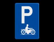 Verkeersbord België E9i - Parkeren uitsluitend voor motorfietsen