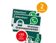 WhatsApp - Sweden - Grannsamverkan SET - 2 borden + 20 stickers - L209wa