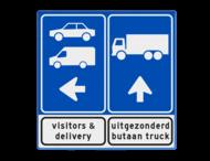 Routebord tankstation - vracht- en autoverkeer + ondertekst