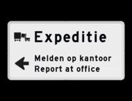 Parkeerroutebord expeditie 2 regelig + pijl links - eigen tekst
