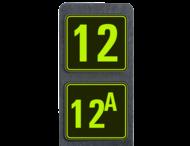 Huisnummerpaal met 2 borden fluorescerend + reflecterend 119x109mm