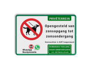 Entreebord honden niet toegestaan - privéterrein + eigen tekst