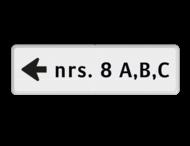 Verwijzing huisnummers - routebord - 1 richting