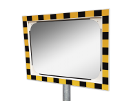 Veiligheidsspiegel acryl geel/zwart 600x400mm met extra opvallende rand