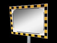 Veiligheidsspiegel polycarbonaat geel/zwart 800x600mm met extra opvallende rand