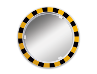 Veiligheidsspiegel acryl geel/zwart rond 600mm met extra opvallende rand