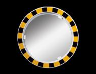 Veiligheidsspiegel polycarbonaat  geel/zwart rond 600mm met extra opvallende rand