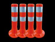 Flexibele aanrijdbeveiliging oranje/wit - kunststof flexpalen Ø80mm
