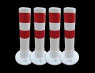 Aanrijdbeveiliging wit/rood - kunststof flexpalen Ø80mm
