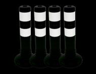 Aanrijdbeveiliging zwart/wit - kunststof flexpalen Ø80mm