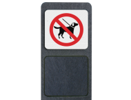Verzwaarde bermpaal met bord 'honden niet toegestaan'