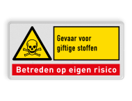 Waarschuwingsbord W016 - Gevaar giftige stoffen met tekstblok
