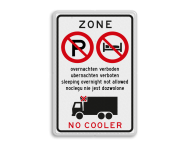 Informatiebord - Overnachten en gebruik cooler verboden