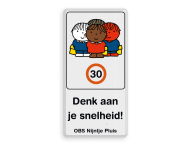 Dick Bruna - Attentiebord Snelheid - groepje kinderen met tekst