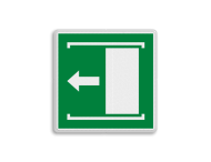 Vluchtroute bordje E034 - Deur naar links schuiven om te openen