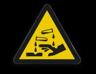 Waarschuwingsbord W023 - Gevaar voor bijtende stoffen