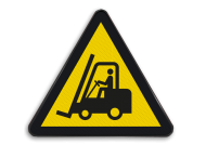 Pictogram W014 - Gevaar voor vorkheftrucks en andere industriële voertuigen