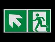 Pictogram E001 - Nooduitgang links trap omhoog