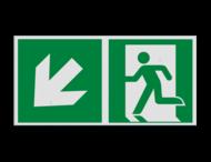 Pictogram E001 - Nooduitgang links trap naar beneden