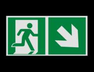 Pictogram E002 - Nooduitgang rechts trap naar beneden