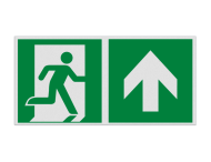 Haaks bord E002 - Nooduitgang rechtdoor met pijl