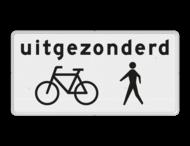 Verkeersbord RVV OB52a - Onderbord - Uitgezonderd fietsers/voetgangers