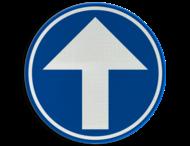Verkeersbord België D1c - Verplichting rechtdoor