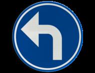 Verkeersbord België D1e - Verplichting de door de pijl aangeduide richting te volgen (hier links)