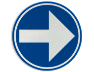 Verkeersbord België D1d-rechts - Verplicht rechts afslaan
