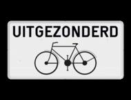 Onderbord België M2 - Uitgezonderd fietsers