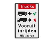 Informatiebord - vrachtwagens vooruit inrijden
