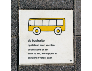 Dick Bruna Stoeptegel - bushalte - 300x300mm